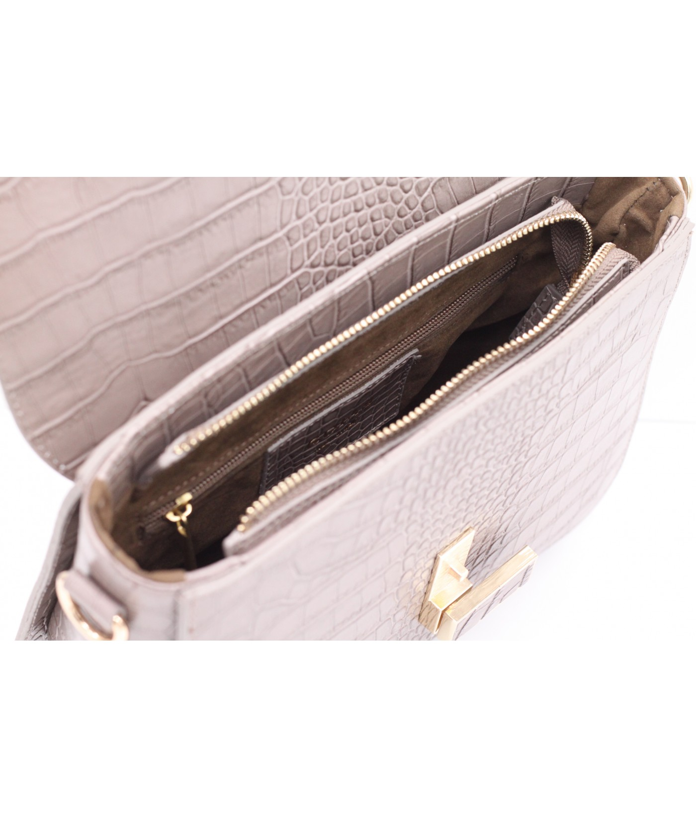 GOIAS  Box Bag in Croc embossed calf leather(Taupe)