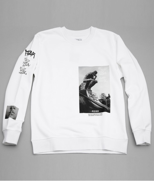 FEAR PHOTO GRAPHIC PULLOVER SWEATSHIRT (WHITE)